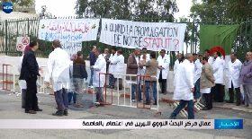 عمال مركز البحث النووي للبيرين في إعتصام بالعاصمة